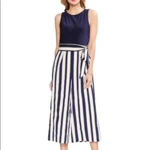 Nwot Vince Camuto navy striped cropped jumpsuit 2